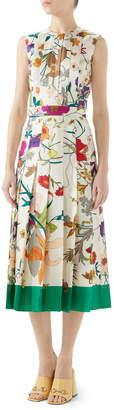 Gucci Flora Gothic Print Silk Pleated Midi Dress