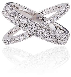 Alinka Jewellery Katia Double Crossover Ring White Gold