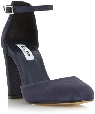 Dune LADIES CAIRO - Two Part Suede Block Heeled Court Shoe