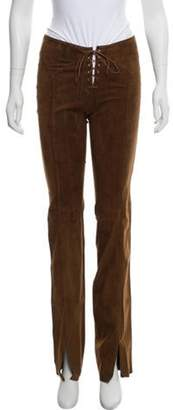 Plein Sud Jeans Leather Lace-Up Pants Brown Leather Lace-Up Pants