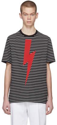 Neil Barrett Black and White Striped Thunderbolt T-Shirt