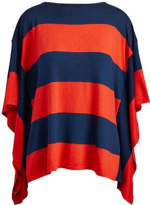 Ralph Lauren Lauren Striped Cotton-Blend Poncho $99.50 thestylecure.com