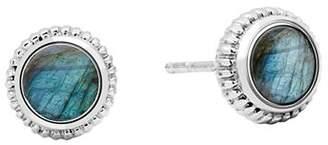 Shinola Sterling Silver Coin Edge Labradorite Stud Earrings