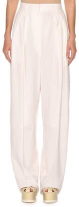 Agnona High-Waist Superfine Poplin Double-Pleated Pants