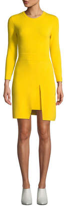 A.L.C. Hadley Long-Sleeve Dress w/ Slit Skirt Overlay