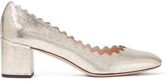 Chloé - Lauren Scalloped Metallic Cracked-leather Pumps - Gold $595 thestylecure.com