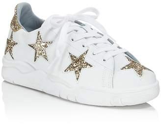 Chiara Ferragni Leather & Glitter Star Low Top Lace Up Sneakers