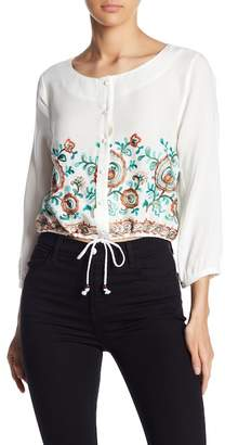 Line & Dot Floral Embroidered Button Down Shirt