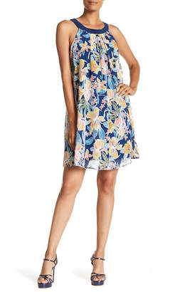 Robbie Bee Scoop Neck Sleeveless Floral Print Dress