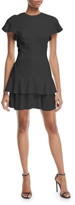 J. Mendel Flutter-Sleeve Ruffled Skirt Dress