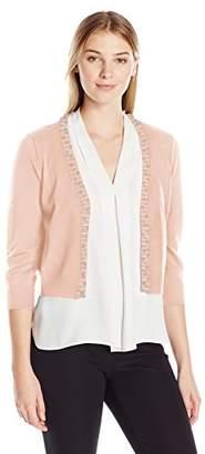 Ronni Nicole Women's 3/4 Sleeve Pearl Trim Shrug
