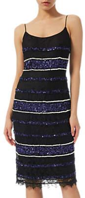 Adrianna Papell Beaded Lace Slip Dress, Black/Multi