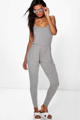boohoo Womens Strappy Jersey Jumpsuit - Grey