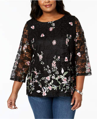 Charter Club Plus Size Embroidered Lace Tunic, Created for Macy's