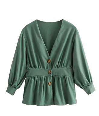 Goodnight Macaroon 'Courtney' Button Front Cinched Waist V-Neck Top