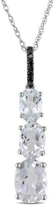 Black Diamond CONCERTO 14K White Gold Topaz and Necklace with 0.03 TCW Black Diamonds