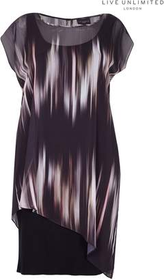 Next Womens Live Unlimited Black Tie Dye Side Pleat Dress