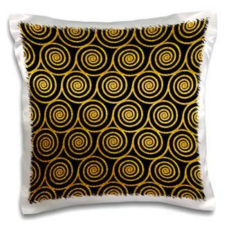 3dRose Photo of Gold Glitter Effect Spirals on Black- not real glitter - Pillow Case, 16 by 16-inch