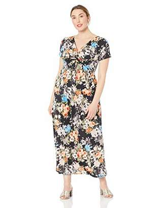 Star Vixen Women's Plus-Size Short Sleeve Twist-Front Maxi Dress