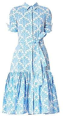Carolina Herrera Women's Belted Ruffle Hem Shirtdress