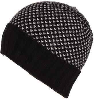 Black and Grey Chevron Cashmere Beanie Hat