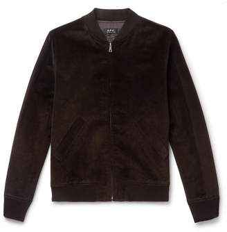 A.P.C. Barett Cotton And Linen-Blend Velvet Bomber Jacket
