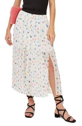 Topshop Polka Dot Pleated Midi Skirt