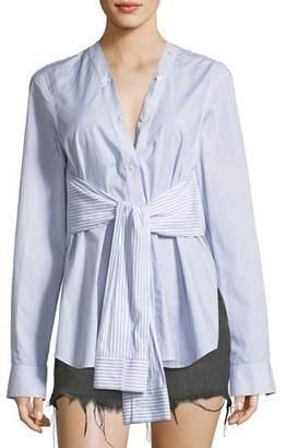 Alexander Wang Tie-Front Long-Sleeve Combo Striped Shirt