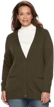 Croft & Barrow Plus Size Button Front Long Sleeve Cardigan