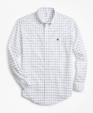 Brooks Brothers Non-Iron Regent Fit Windowpane Slub Oxford Sport Shirt