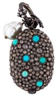 Loree Rodkin 18K Pearl, Diamond & Turquoise Pendant
