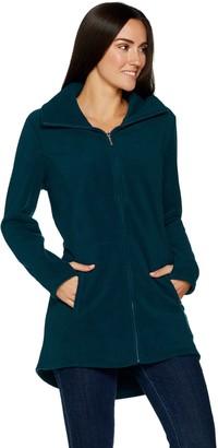 Denim & Co. Fleece Zip Front Long Sleeve Jacket with Hi-Low Hem