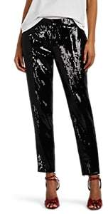 Saint Laurent Women's Sequin-Embellished Trousers - Black