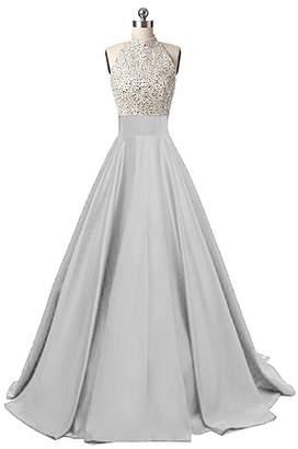 JINGDRESS Womens High Neck Sequin Satin Long Evening Prom Dress ?