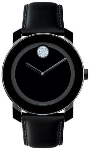 Movado BOLD Bold Black/Crystal Leather Watch
