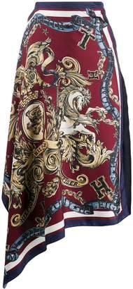 Tommy Hilfiger asymmetric crest print skirt