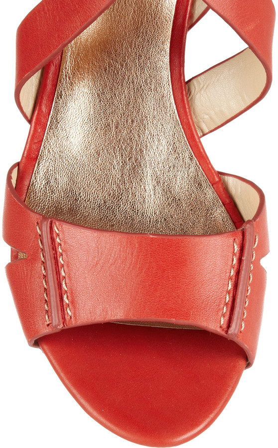 Sigerson Morrison Belle Leather and wood wedge sandals