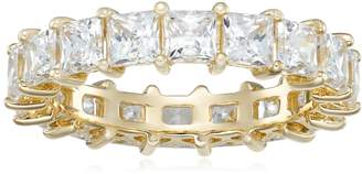 Swarovski Amazon Collection -Plated Sterling Silver Zirconia Princess Eternity Band Ring, Size 7