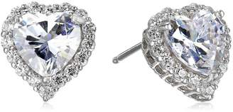 Swarovski Amazon Collection Platinum-Plated Sterling Silver Zirconia Heart Halo Stud Earrings