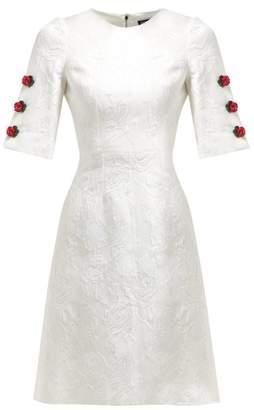 Dolce & Gabbana Floral Jacquard Rose Charm Mini Dress - Womens - White