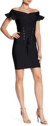 Wow Couture Ruffle Sleeve Corset Dress
