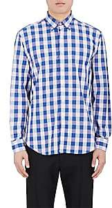Barneys New York MEN'S BUFFALO-CHECKED COTTON DRESS SHIRT-BLUE SIZE S