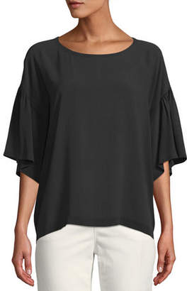 Eileen Fisher Scoop-Neck Elbow-Sleeve Silk Crepe Top, Plus Size