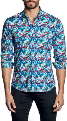 Jared Lang Men's Abstract-Print Long-Sleeve Button-Down Cotton Shirt