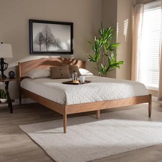 Baxton Studio Leanora MidCentury Modern Ash Wanut Finished King Size Wood Platform Bed