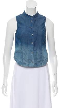 Theyskens' Theory Sleeveless Chambray Button-Up Top