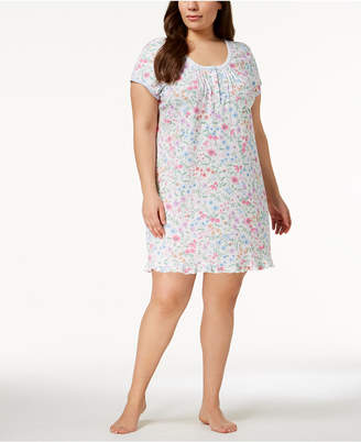 Miss Elaine Plus Size Wildflower-Print Knit Nightgown