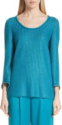 St. John Sequin Rib Knit Sweater