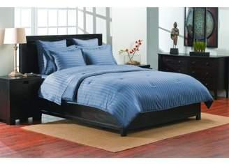Color Sense Damask Stripe Reversible 3-Piece Full/Queen Blue Comforter Set