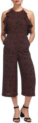 Whistles Sonia Frill Lips Print Crop Jumpsuit